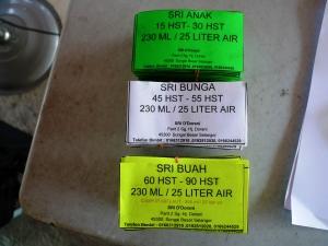Produk SRI : Label Botol SRI Anak, SRI Bunga, dan SRI Buah